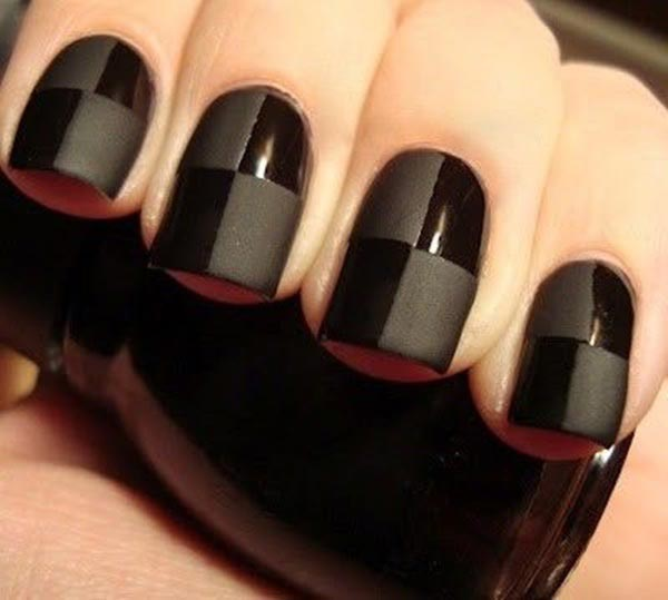 black checks nail art