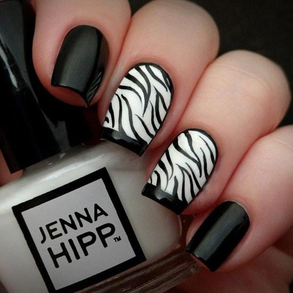 Zebra design nail art