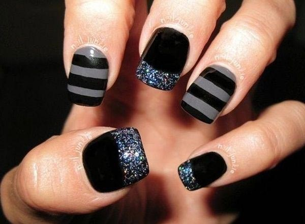 Stripped and glittering designs in black and grey