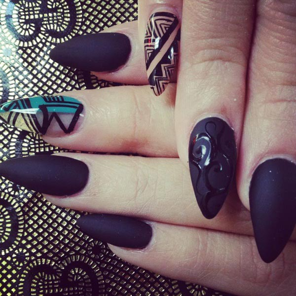 Beautiful nail art design with matte finish base and glossy lace