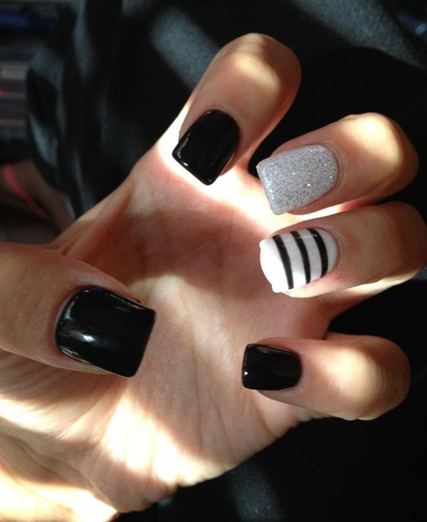 Stripped and glittering nail art designs in black and white