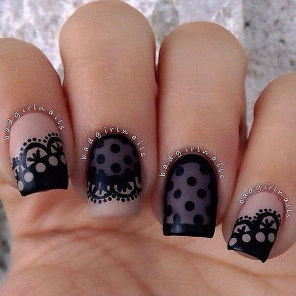 Black lace design with polka dots