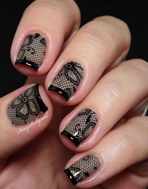 Beautiful flower lace design nails in black