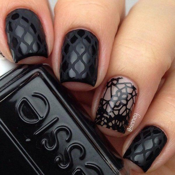 creative black nail art