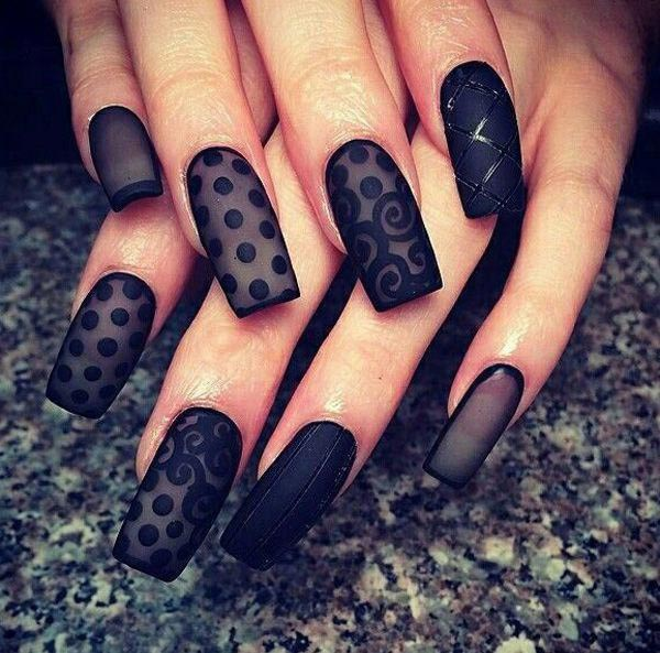 Sexy black nails with matte finish and lace pattern