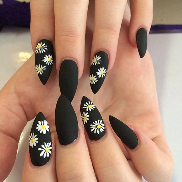 Beautiful flowers nail art on matte finish black nail polish base