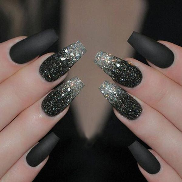 Sparkling silver and black nail art