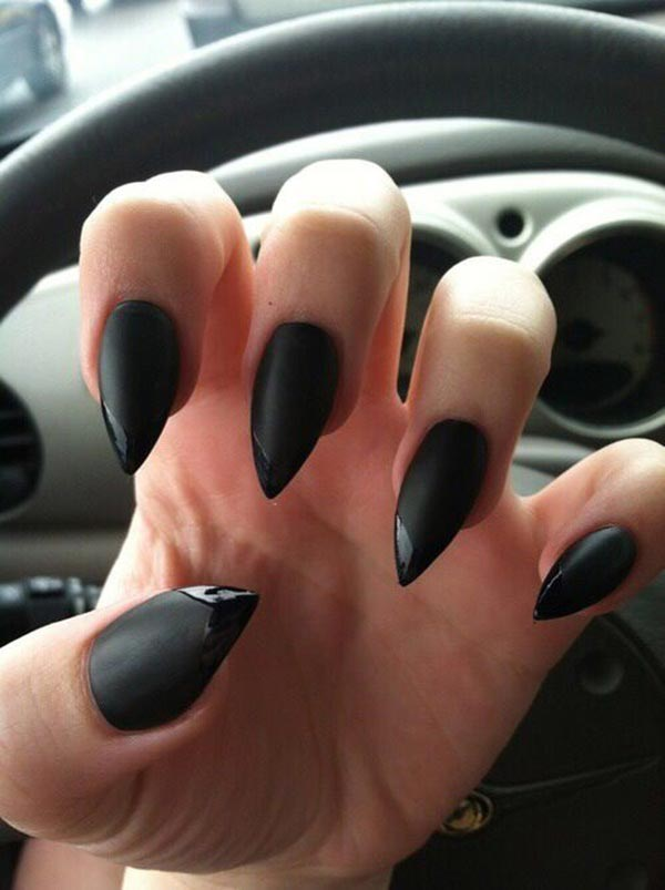 Black matte nails with glossy tips