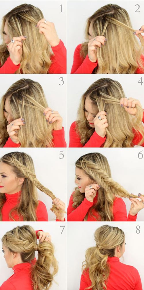 inverted fishtail braid pony