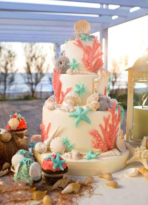 11 spectacular designs of beach wedding cake the beach wedding cake with pretty shades junglespirit Choice Image