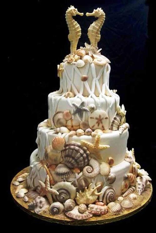 11 spectacular designs of beach wedding cake. Black Bedroom Furniture Sets. Home Design Ideas