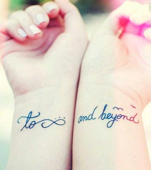 To infinity and beyond on the wrist best friend tattoo
