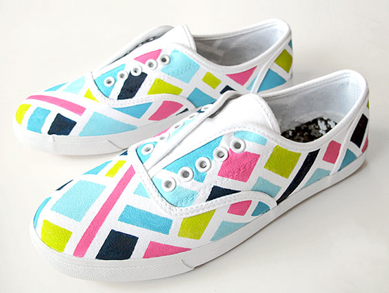 awesome colorful hand painted sneakers