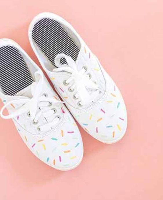 cute rainbow sprinkle shoes - hand painted sneakers