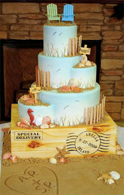 Just married beach wedding cake