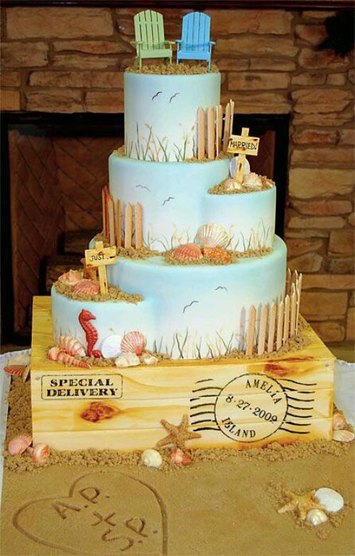 Just Married Beach Wedding Cake