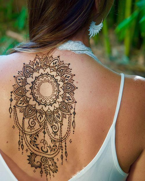 Artistic henna design for back