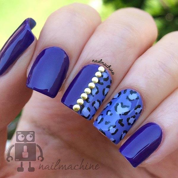 Blue Leopard Nail Art