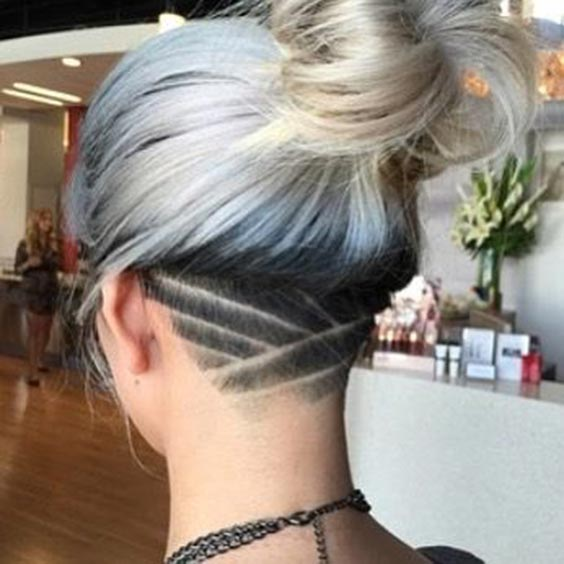 Criss cross undercut with platinum hair