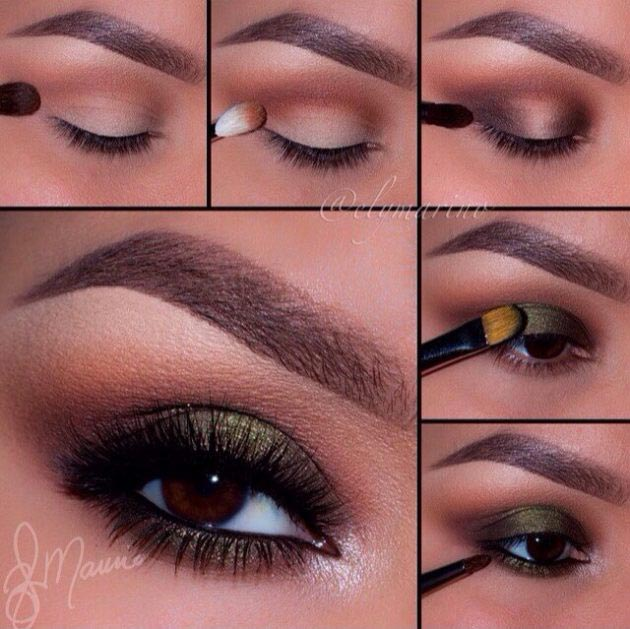 Fall eye makeup with golden touch