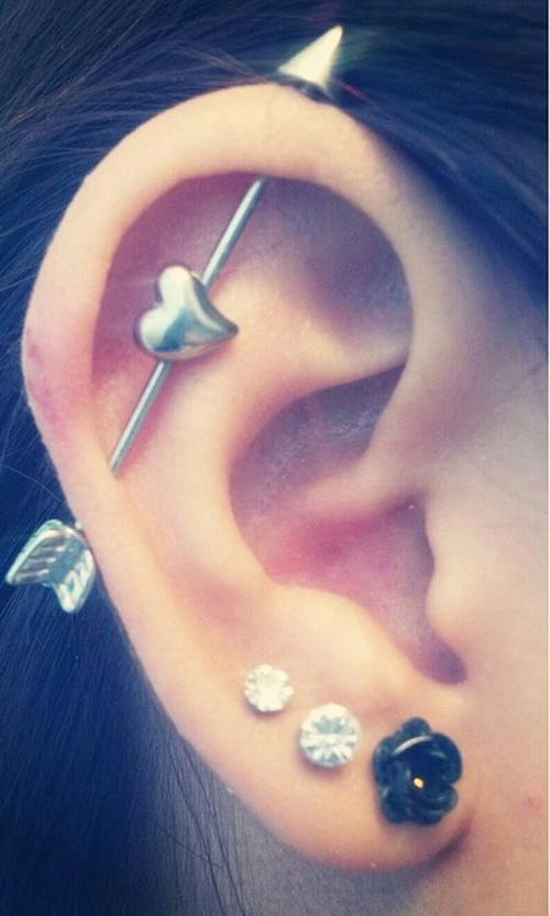 Industrial ear piercing with lobes
