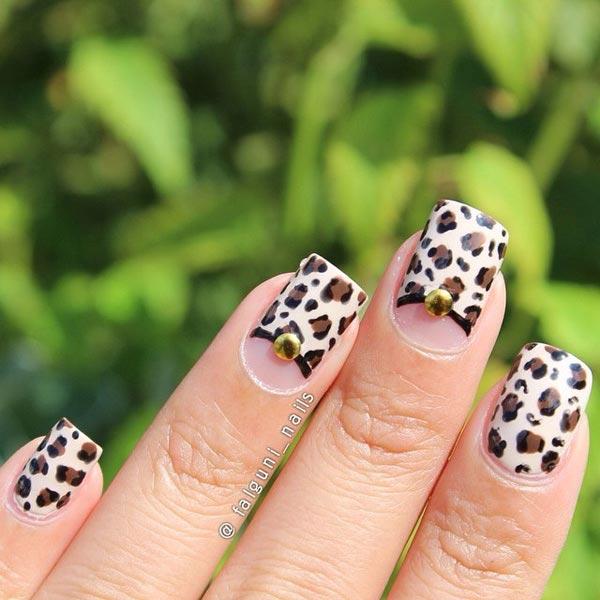 Leopard Nail Art On Nude Shade