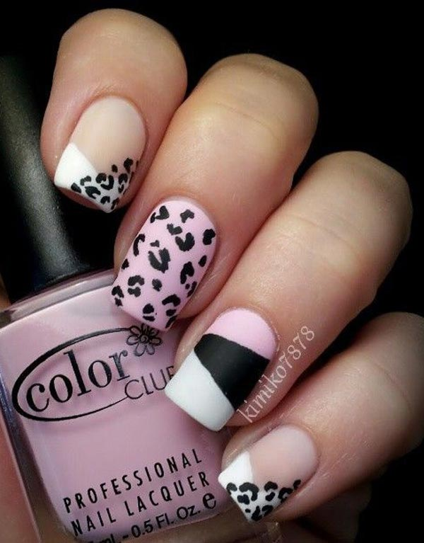Leopard print on tips and nails