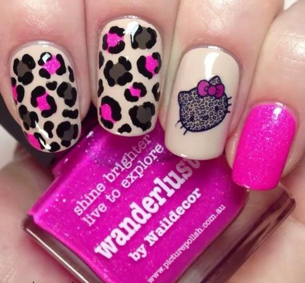 Neon Pink Leopard Nail Art