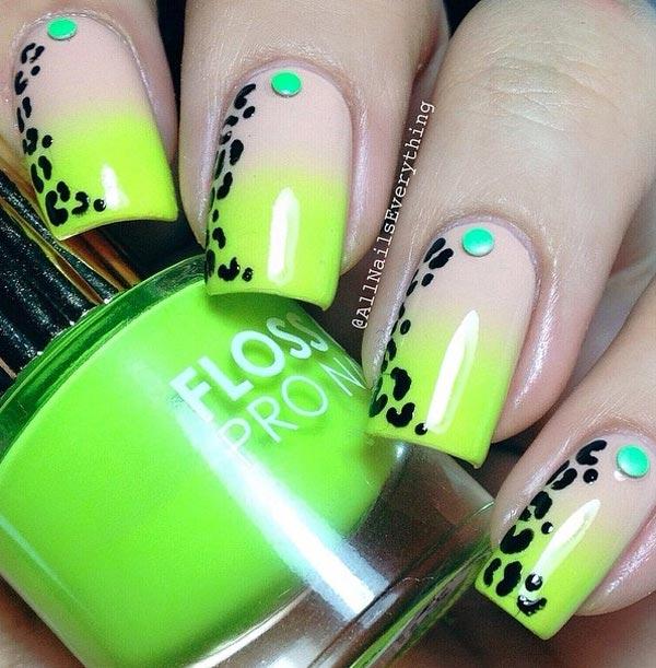 Neon Touch Leopard Nail Art