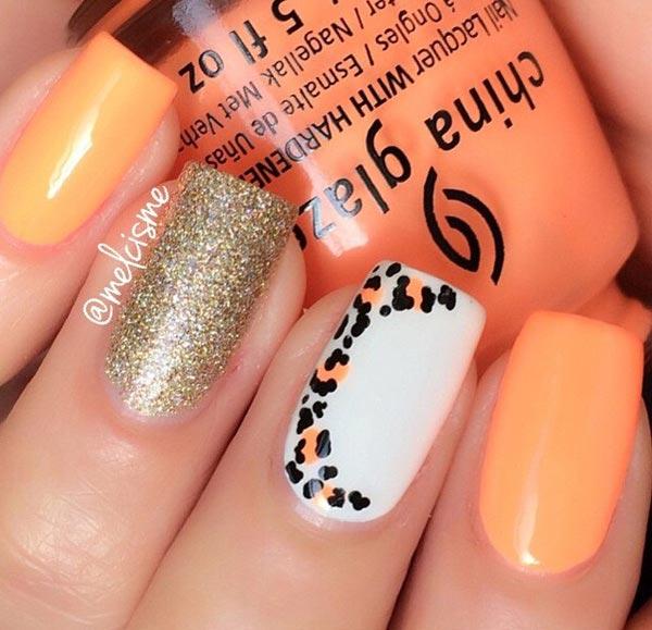 Orange Leopard Nail Art
