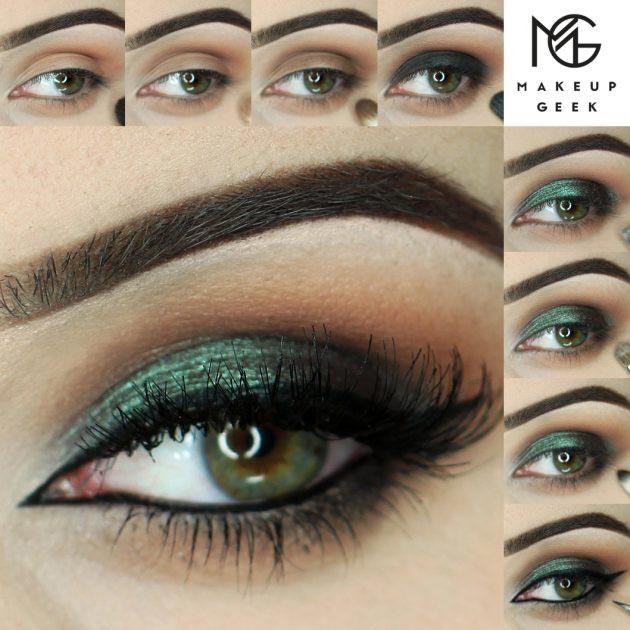 Sparkling green eye makeup