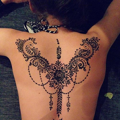 intricate henna design for back