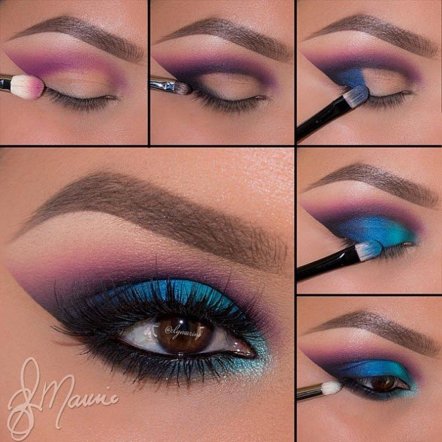 Beautiful eye makeup inspired from peacock