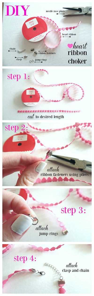 DIY heart choker necklace