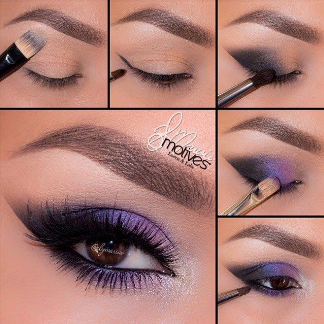 Dark purple shades eye makeup
