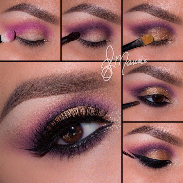 Dramatic eyes with Copper and Pink