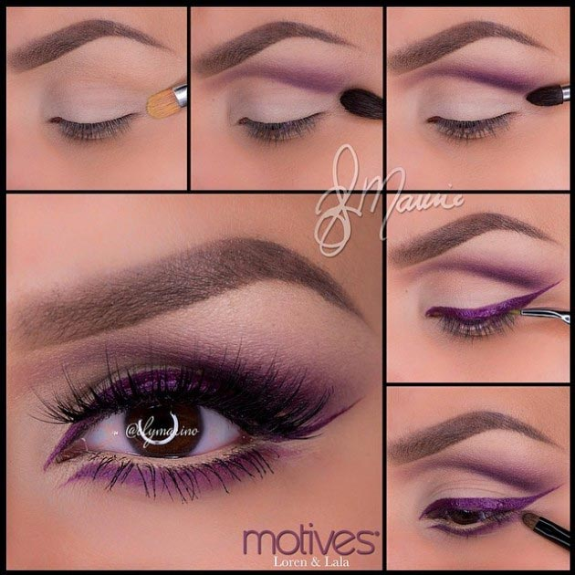 Eye makeup with purple liner