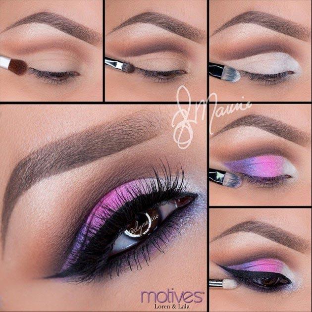 Fresh pink shades eye makeup