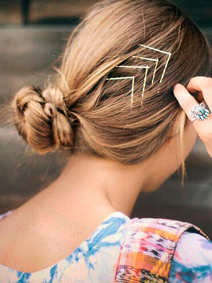 Bobby pin hair art with arrows