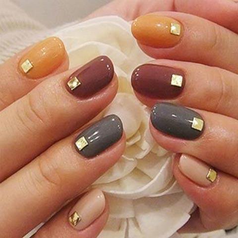 Classy studd nail art for thansgiving