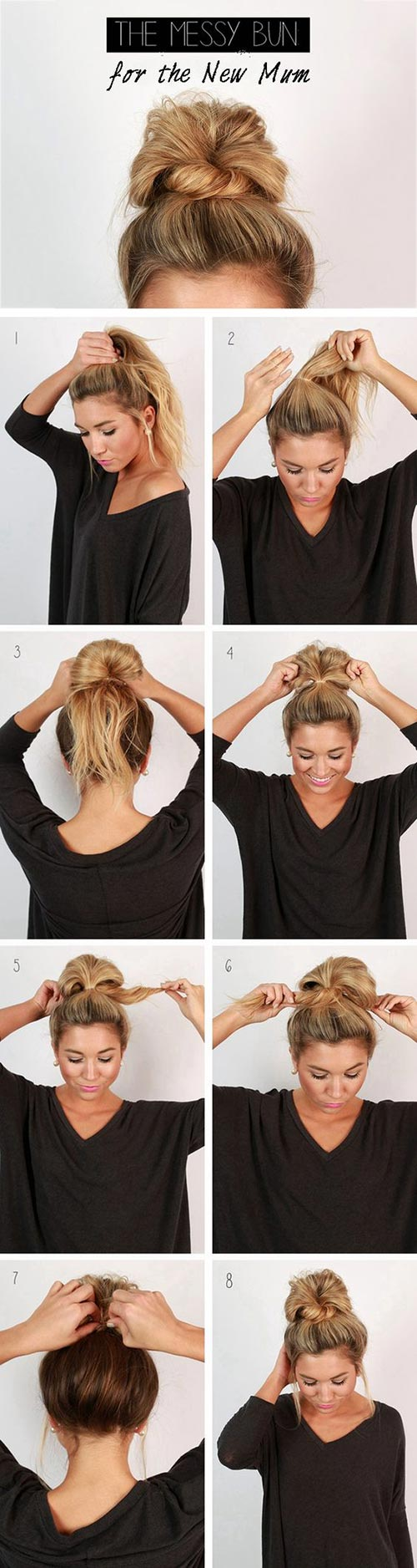 Coolest messy updo tutorial for long hair