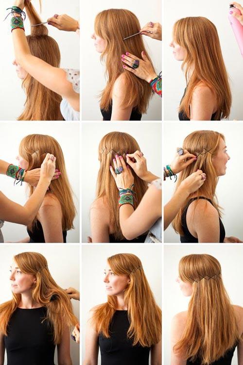 Criss cross bobby pin hair art
