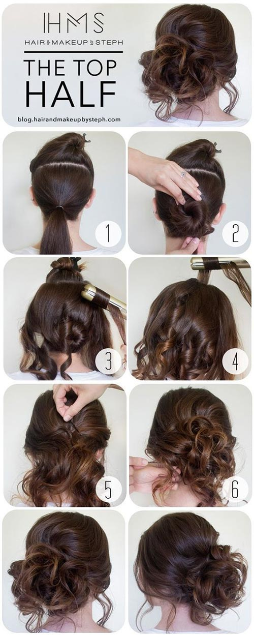 Curled up bun tutorial