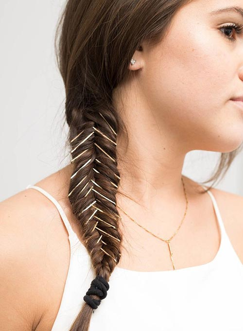 Embellished fishtail braid