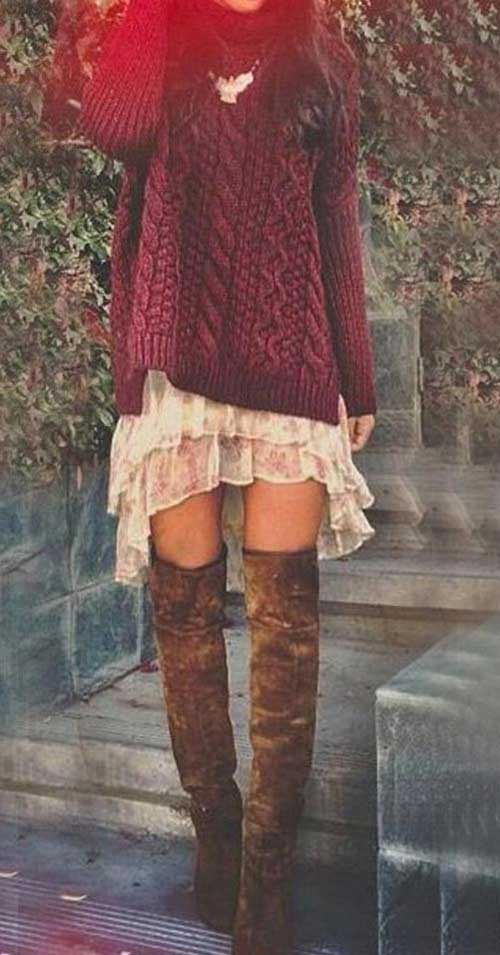 Long sweater paired with short dress