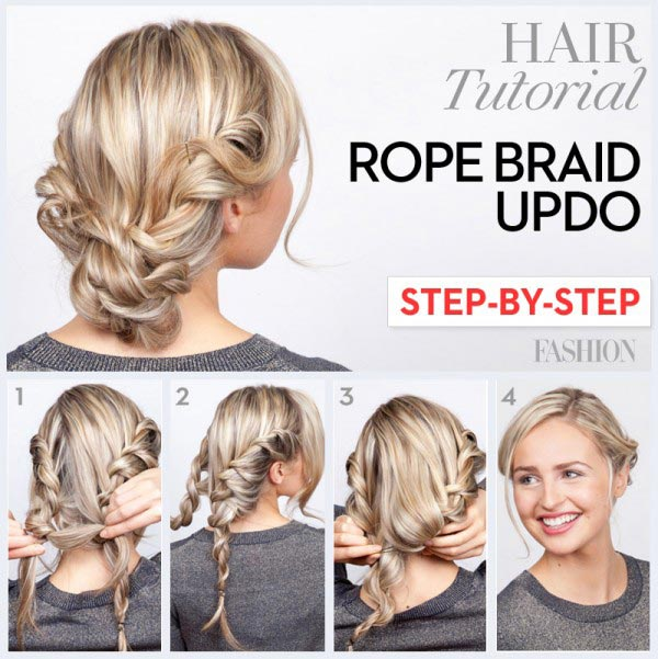 Rope braid updo tutorial