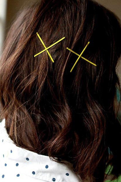 Two-X bobby pin hair art