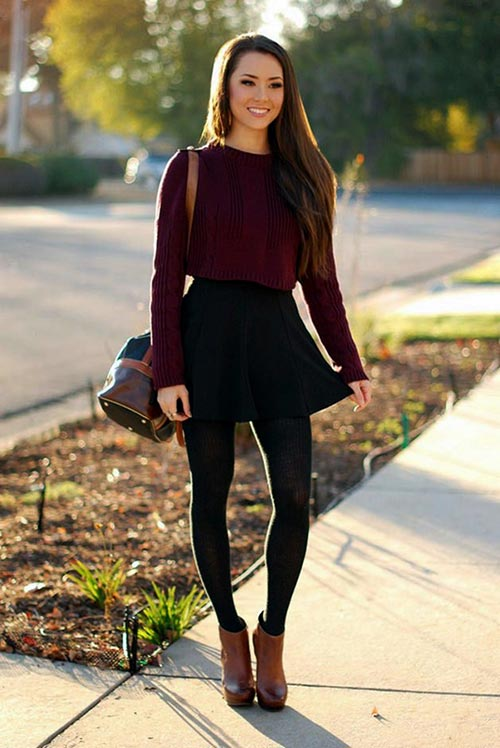 crop sweater with skirts