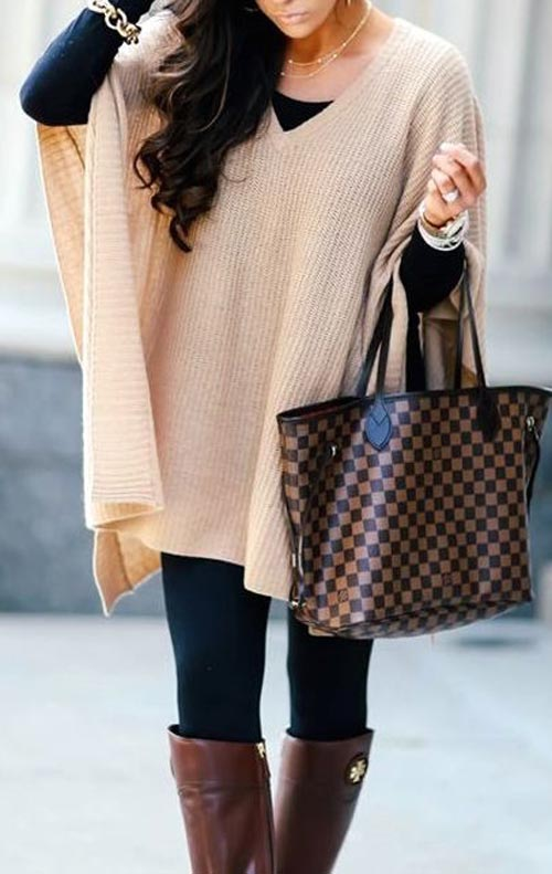fall outfits-beige poncho