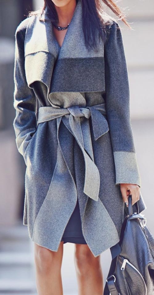 fall outfits-gray belted coat